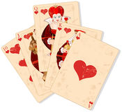 Hearts royal flush Stock Photo