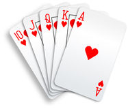 Hearts royal flush playing cards poker hand. A royal straight flush playing cards poker hand in hearts Royalty Free Stock Photography
