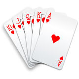 Hearts royal flush playing cards poker hand Stock Photo