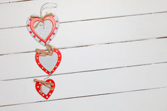 Hearts on rustic wooden background Stock Image