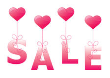 Hearts sale sign. In balloon style Royalty Free Stock Photos
