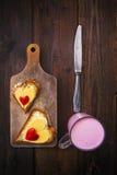 Hearts sandwiches boards buttermilk knife breakfast food stock image