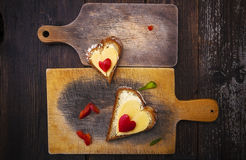 Hearts sandwiches boards shape breakfast food stock images