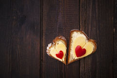 Hearts sandwiches shape bread food royalty free stock photography