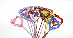 Hearts of satin ribbons multicolored handmade Royalty Free Stock Images