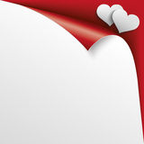 2 Hearts Scrolled Corner Red Paper Cover. Convert paper cover with 2 white paper hearts on the red background royalty free illustration