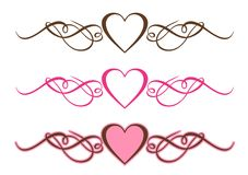 Hearts Scrolls. Three Hearts Scrolls on White Background Royalty Free Stock Photo