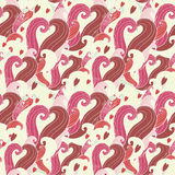 Hearts seamless background. Bright seamless background with colored spirals and hearts Royalty Free Illustration