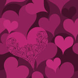 Hearts Seamless Pattern. Pattern with abstract hearts in luxury colors, one big heart is special with creative line art pattern and you can use it like Stock Image