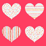 Hearts seamless pattern bright collection Stock Image