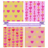Hearts seamless pattern collection Royalty Free Stock Images