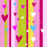 Hearts seamless pattern. Colorful pink hearts. Love. Valentine`s Stock Photos