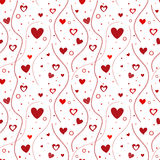 Hearts seamless pattern. Seamless pattern design with red hearts stock illustration
