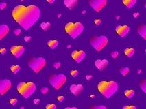 Hearts seamless pattern with purple gradient. Futuristic modern trend. Vector stock illustration
