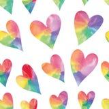 Hearts seamless pattern. Rainbow hearts. Watercolor hearts seamless pattern. Vector illustration Stock Photos