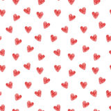 Hearts seamless pattern. Red striped hearts on white. Stock Images