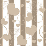 Hearts seamless pattern with roses and rings Royalty Free Stock Image