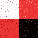 Hearts seamless pattern. Set of four hand drawn seamless vector patterns with hearts, in black, white, red. Design concept for Valentine`s day, kids textile Stock Images