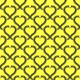 Hearts Seamless Pattern Sunny Background. Black heart lacy frames wallpaper pattern on a sunny yellow background. Seamless texture background Royalty Free Stock Image