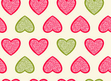Hearts seamless pattern. Vector illustration. Background for Valentine's day design. Abstract pattern hearts. Pink and green colors Royalty Free Stock Photography
