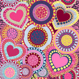 Hearts seamless pattern.  Vector Illustration. Doodle seamless wallpaper with hand drawn Valentine hearts Stock Image
