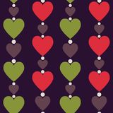 Hearts seamless pattern. Vertically disposed hearts. Vector illu Royalty Free Stock Photography