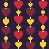 Hearts seamless pattern. Vertically disposed hearts. Vector illu Royalty Free Stock Photos