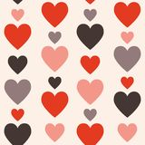 Hearts seamless pattern. Vertically disposed hearts. Vector illu Stock Photography