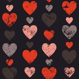 Hearts seamless pattern. Vertically disposed hearts. Vector illu Stock Image