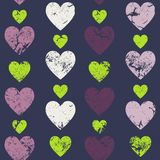 Hearts seamless pattern. Vertically disposed hearts. Vector illu Stock Images