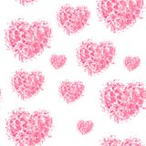 Hearts seamless tiling pattern on white background. For Valentine`s day, gift wrapping paper vector illustration
