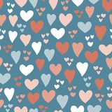 Hearts seamless vector pattern background. Hand drawn hearts isolated pink, coral, blue. Use for card, invitation, album,. Scrapbook, wrapping paper, kids stock illustration