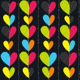 Hearts seamless vector pattern for girlish design. Girlish print with bright hearts on black. Bright hearts seamless pattern for girlish design. Fashion stock illustration