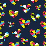 Hearts seamless vector pattern for girlish design. Girlish print with bright hearts on dark blue. stock illustration