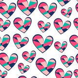 Hearts seamless vector pattern for girlish design. Girlish print with bright hearts on white. royalty free illustration