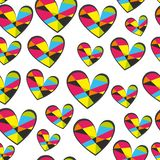 Hearts seamless vector pattern for girlish design. Girlish print with bright hearts on white. stock illustration