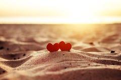 Hearts on the Seashore Stock Image