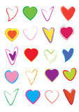 Hearts set. Different kind of colorful hearts vectors isolated on white background Stock Photography