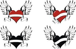Hearts set. Heart with wing un vector format very easy to edit stock illustration