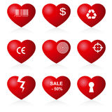 Hearts set (allegorical icon). Stock Photo