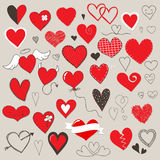 Hearts set. Collection of different heart symbols doodle Stock Image