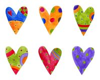 Hearts. Set of decorative elements. Artistic work. Watercolours on paper Stock Images