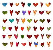 Hearts. Set of decorative elements. Artistic work. Acrylic colours on paper Stock Photography
