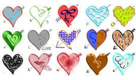 Hearts set. Different color and shape hearts set, hand drawing Royalty Free Stock Image