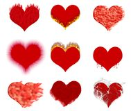 Hearts_set effects. Set of hearts with various effects (a flame, a smoke, drops, a wool Stock Images