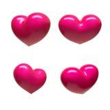 Hearts. Set of four shiny hearts Royalty Free Stock Photos