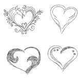 Hearts, set, hand, drawn, sketch, vector, illuatration Royalty Free Stock Photography