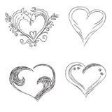 Hearts, set, hand, drawn, sketch, vector, illuatration Royalty Free Stock Photography