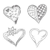 Hearts, set, hand, drawn, sketch, vector, illuatration Royalty Free Stock Photo