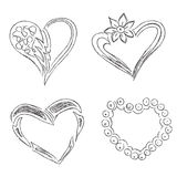 Hearts, set, hand, drawn, sketch, vector, illuatration Royalty Free Stock Images